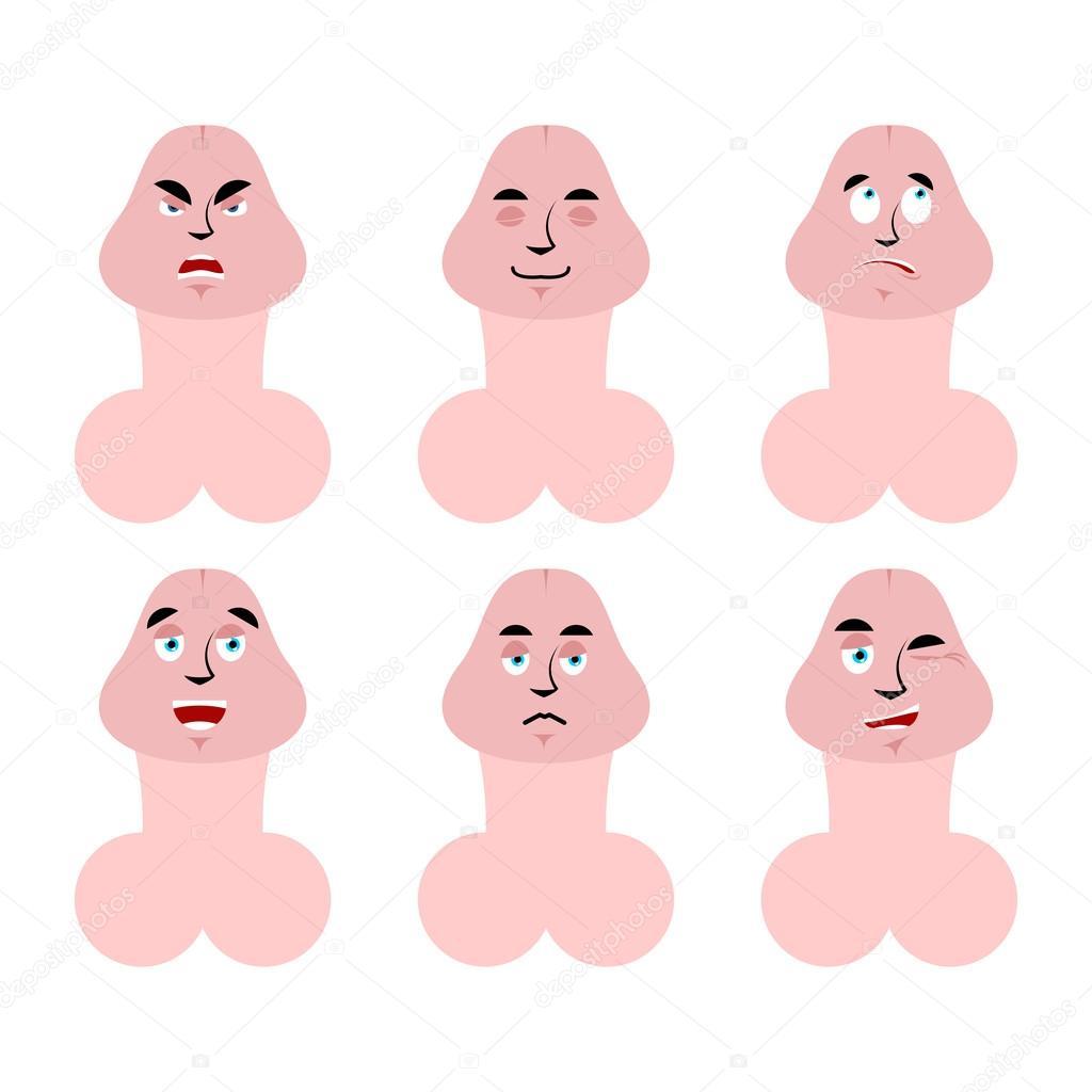 emoji în jos cu purtători de penis